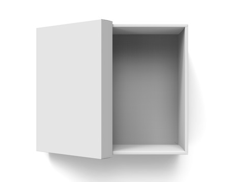 3d rendering blank  open paper box with leaning lid for design use, isolated white background, top view Stock Photo