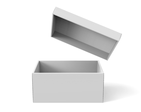 3d rendering blank open paper box with floating lid for design use, isolated white background, elevated view Stock Photo