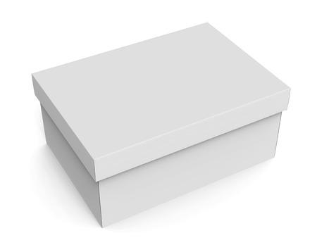 3d 렌더링 빈 왼쪽 기울기 닫힌 된 종이 상자 디자인 사용, 격리 된 흰색 배경, 높은보기에 대 한 뚜껑
