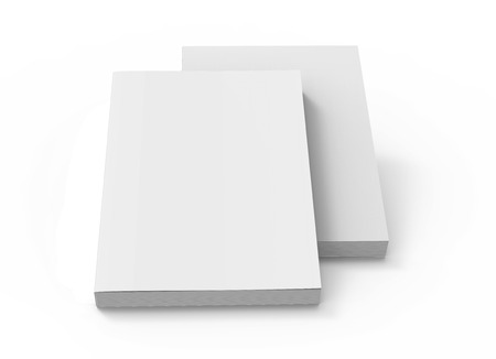 two blank 3d rendering white books placed on ground, isolated white background, elevated view Stock Photo