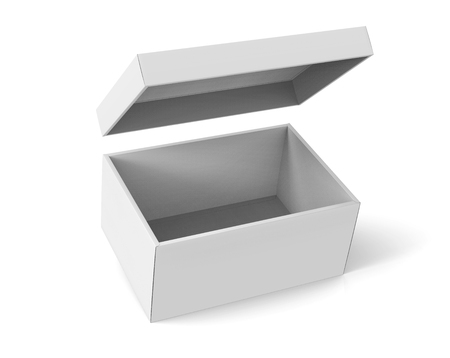 3d rendering slanting blank left tilt open paper box with floating lid for design use, isolated white background, elevated view