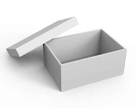 contain: 3d rendering blank left tilt open paper box with leaning lid for design use, isolated white background, elevated view Stock Photo