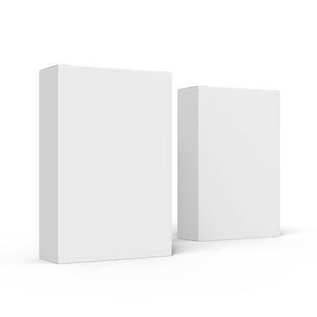 contain: two right tilt blank white paper boxes 3d rendering for design use, isolated white background, side view