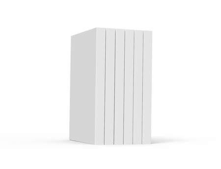 six 3d rendering right tilt blank books placed together, isolated white background, side view