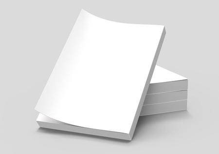 tilting: three right tilt books placed on ground and a left tilt book leaning on them, isolated gray background, side view