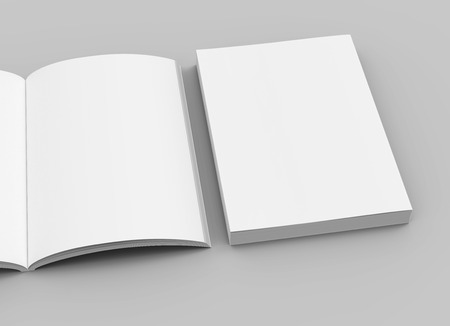 two right tilt blank books on the ground, one open, isolated gray background, 3d rendering top view, close up
