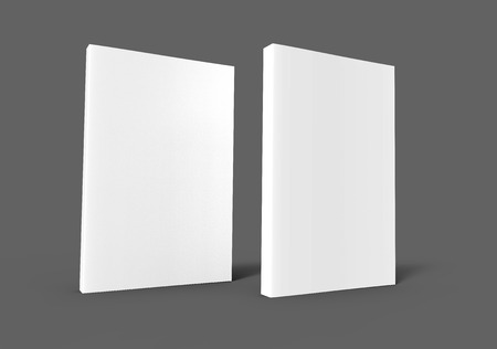 two standing blank right tilt 3d rendering white books, isolated dark gray background, side view Stok Fotoğraf - 81214623