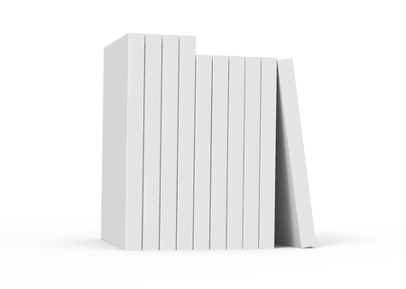nine 3d rendering right tilt blank books placed together and a book leaning on them, isolated white background, side view