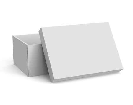 3d rendering blank left tilt open paper box with leaning lid for design use, isolated white background, elevated view Stock Photo