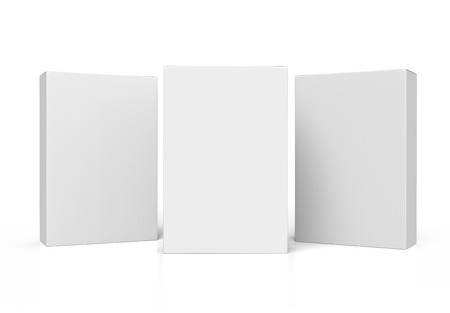 three white paper boxes 3d rendering for design use, two tilt, isolated white background, side view