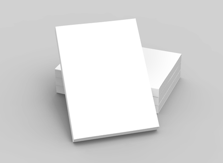 tilting: three right tilt books placed on ground and a right tilt book leaning on them, isolated gray background, elevated view