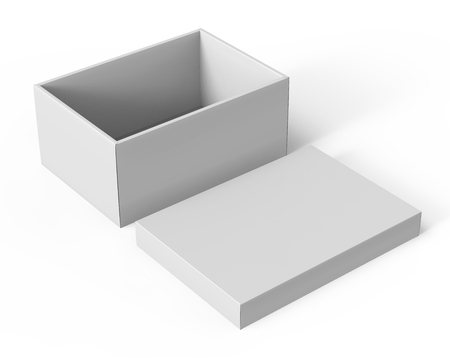 3d rendering blank left tilt open paper box with separate lid on the ground for design use, isolated white background, elevated view