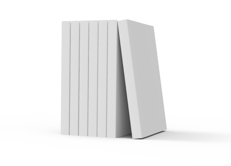 six 3d rendering left tilt blank books placed together and a book leaning on them, isolated white background, side view