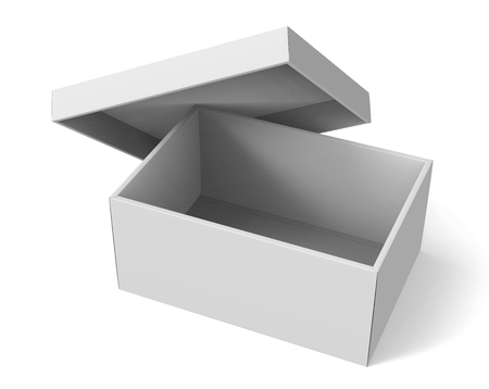 3d rendering blank right tilt open paper box with leaning lid for design use, isolated white background, elevated view