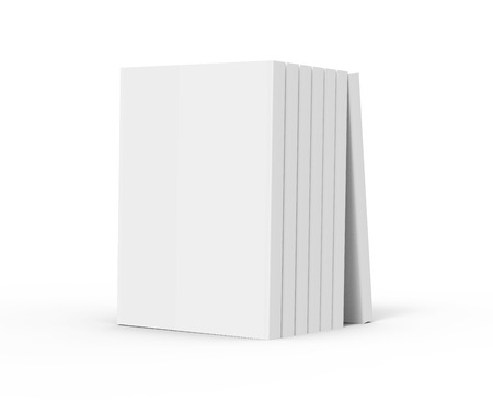 six 3d rendering right tilt blank books placed together and a book leaning on them, isolated white background, side view