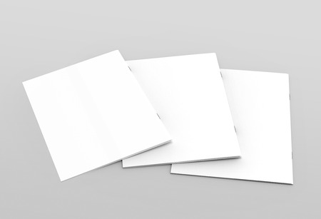 tilting: three tilt blank tilt 3d rendering closed white brochures for design use, isolated gray background elevated view