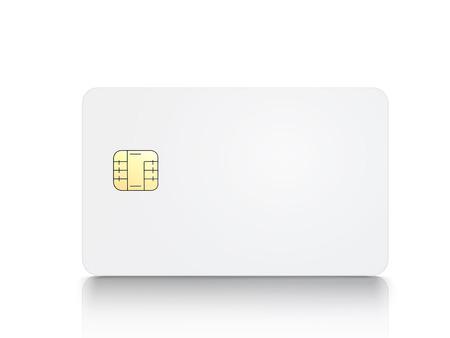 witte lege chipkaart, geïsoleerde witte achtergrond, 3d illustratie