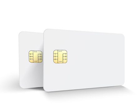 Two left tilt white blank chip cards, isolated white background, 3d illustration