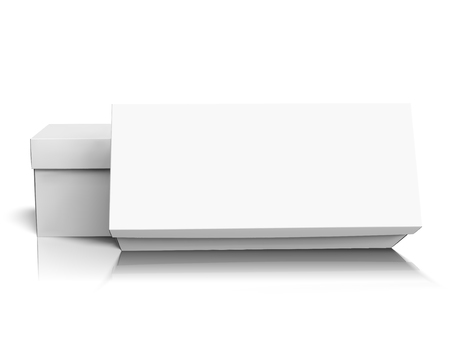 One blank long box leaning on another, with lids, isolated white background, 3d illustration side view