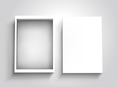 Blank open flat box with separate lid beside it, isolated silver gray background, 3d illustration top view