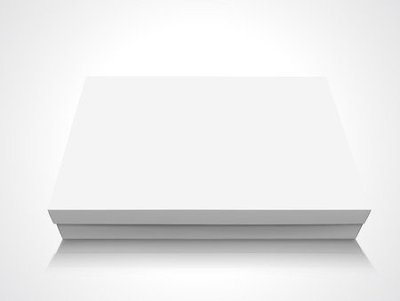 Flat slanting blank box with lid, isolated white background, 3d illustration elevated view Ilustracja