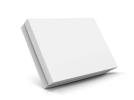 Slanting left tilt flat blank box with lid, isolated white background, 3d illustration side view Ilustracja