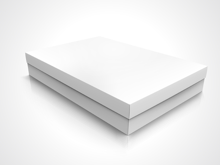 Flat blank right tilt box with lid, isolated white background, 3d illustration elevated view