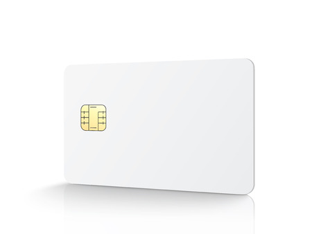 White blank chip card, isolated white background, 3d illustration