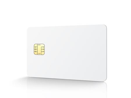 Witte lege chipkaart, geïsoleerde witte achtergrond, 3d illustratie Stock Illustratie