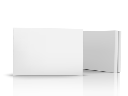 Two flat blank boxes with lids, one right tilt, isolated white background, 3d illustration side view