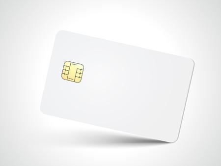 Slanting white blank chip card, isolated white background, 3d illustration