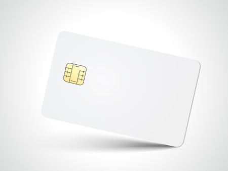 Slanting white blank chip card, isolated white background, 3d illustration
