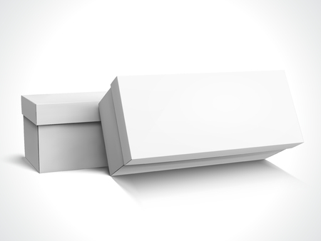 Two left tilt blank long boxes with lids, one slanting, isolated white background, 3d illustration side view