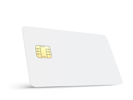 Linker kantelen witte lege chipkaart, geïsoleerde witte achtergrond, 3d illustratie