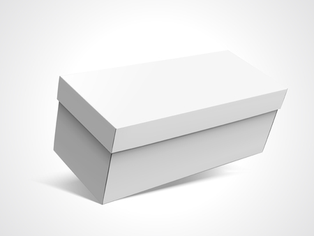 Slanting left tilt blank long box with lid, isolated white background, 3d illustration elevated view