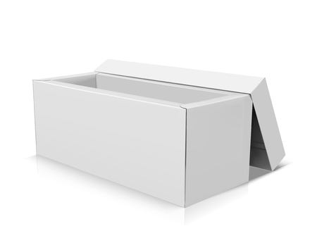 Blank long right tilt open box with separate lid leaning on, isolated white background, 3d illustration elevated view