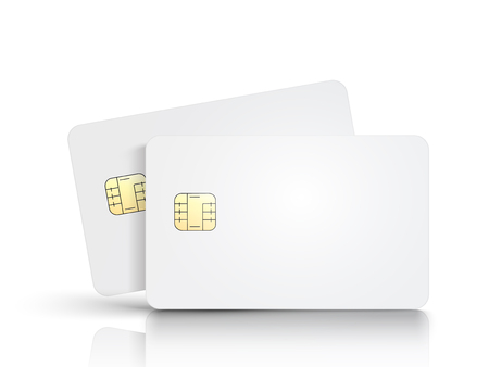 Two white blank chip cards, one slanting, isolated white background, 3d illustration Ilustrace