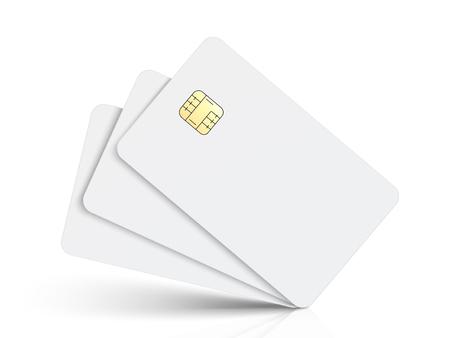 3 개의 기울어 진 흰색 빈 칩 카드, 격리 된 흰색 배경, 3d 그림 일러스트