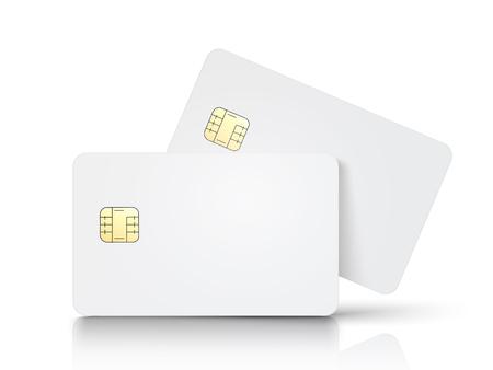 2 つの白い空白チップ カード、1 つ斜め、孤立した白い背景、3 d イラストレーション