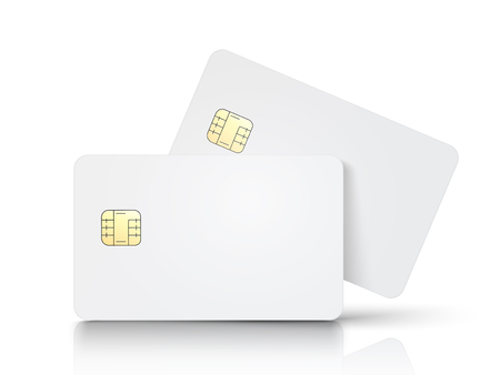 two white blank chip cards, one slanting, isolated white background, 3d illustration Illustration