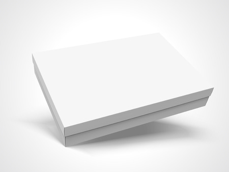 Slanting left tilt flat blank box with lid, isolated white background, 3d illustration elevated view