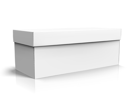 Left tilt blank long box with lid, isolated white background, 3d illustration side view
