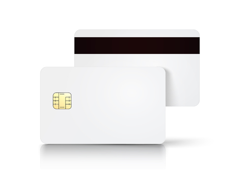 Two white blank chip cards and a magnetic stripe, isolated white background, 3d illustration Illustration
