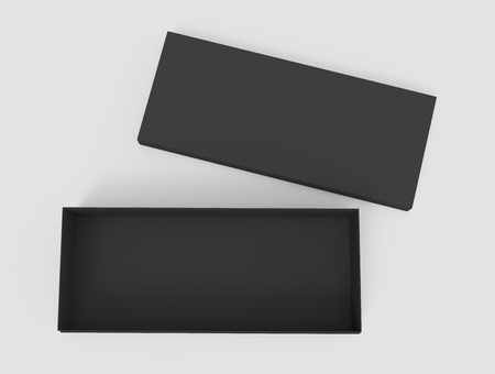 3d rendering black blank open box with right tilt lid on the ground, isolated light gray background top view Stock Photo - 81214594