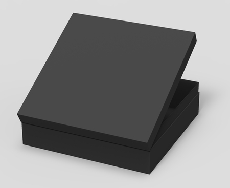 opening black blank paper box with lid, isolated gray background, 3d rendering elevated view Stock Photo