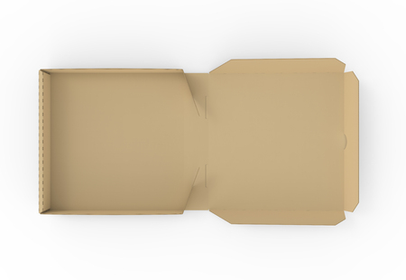 3d rendering left tilt open blank brown pizza box, isolated white background, top view 版權商用圖片