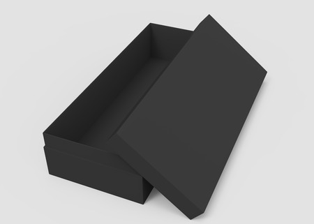 3d rendering left tilt black blank half open box with lid, isolated light gray background elevated view Stock Photo
