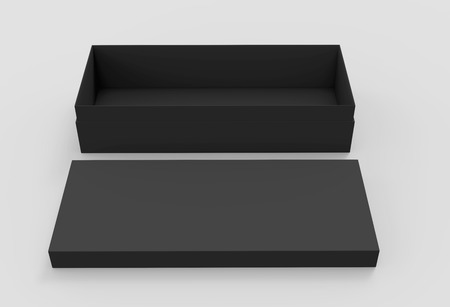 3d rendering black blank open box with lid on the ground, isolated light gray background elevated view