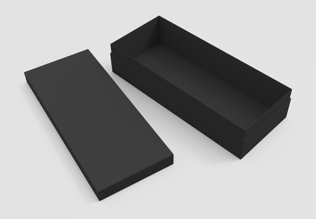 3d rendering right tilt black blank open box and lid on the ground, isolated light gray background elevated view 版權商用圖片