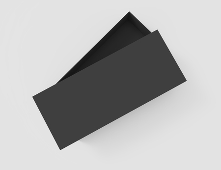 3d rendering left tilt black blank slightly open box with lid, isolated light gray background top view